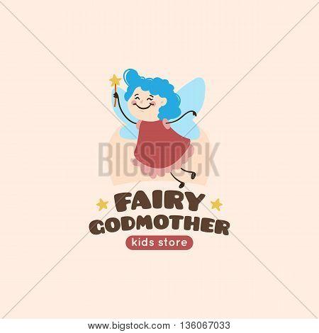 Vector cartoon fairy godmother logo. Cute mascot baby store symbol.