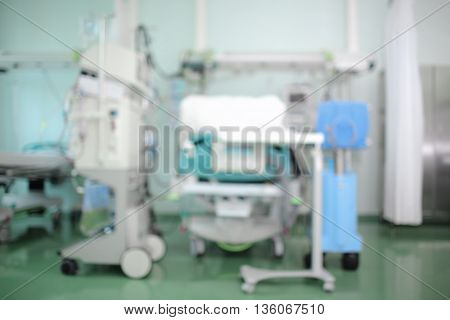 Modern equipped intensive care unit unfocused background
