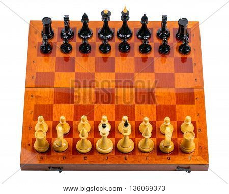 Wooden chessboard with chessmen on white background