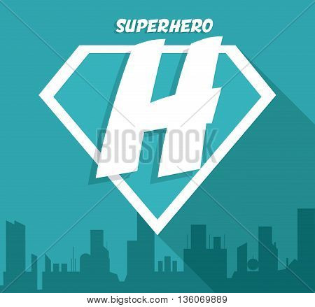Superhero concept represented by sign over ciy scene icon. Colorfull and flat illustration