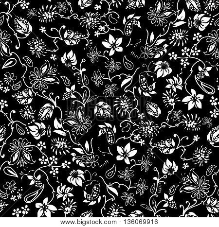 Ditsy black and white Floral Seamless Pattern Vector any surface design