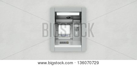 Withdrawing money on ATM teller machine on a bank wall (3D Rendering)