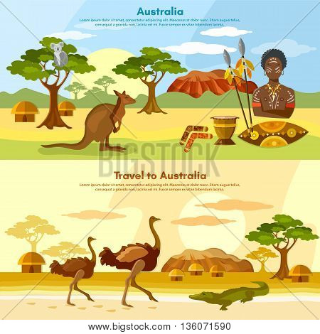 Australia travel banner Australian aborigines Australia people and animals kangaroo ostrich koala vector illustration