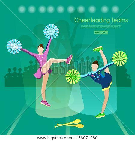 Cheerleading team school sports championship cheerleading stunt cheerleader pom poms vector illustration