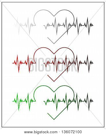 Graphic illustration of cardiogram or cardiograph. Electrocardiogram in black and white, red and green. Heart rate. EKG or ECG test. Heartbeat graph. Vector. Isolated.