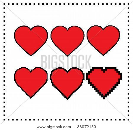 Pixel art hearts. Different pixel size: big pixel heart, small pixel heart. Motion graphics element. Editable pixel hearts. Gaming design. Isolated illustration of hearts from pixel to stroke. Vector.