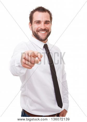 Man Pointing At You, Isolated On White Background