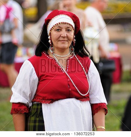 Orel Russia - June 24 2016: Turgenev Fest. Woman in traditional Russian dress closeup
