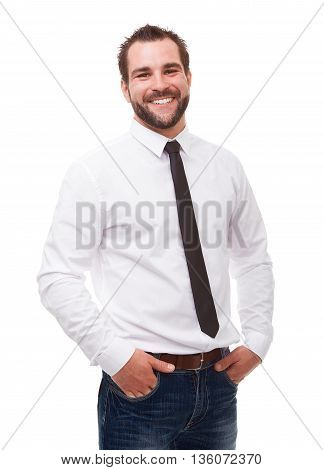 Young Smiling Man In A White Shirt On White Background