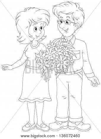 Loving couple. Black and white vector illustration of a smiling young man and a young woman holding a bouquet of flowers