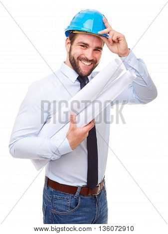 Smiling Architect With Hard Hat And Plan On White Background