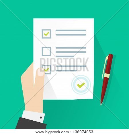 School exam test results vector illustration, student hand holding examination quiz paper form symbol with checkmark, pen flat icon, survey testing success sign isolated on green background