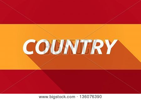 Long Shadow Spain Flag With    The Text Country