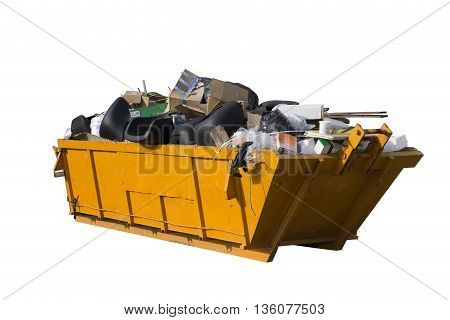 Rubbish yellow removal container isolated on white