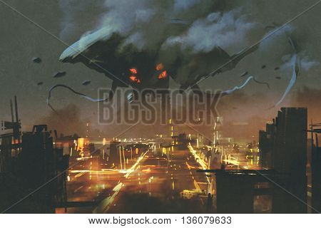 sci-fi scene, Alien monster invading night city,illustation painting