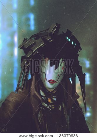 robot woman with artificial facefuturistic concept, illustration painting