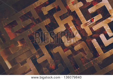 man standing above the maze with lava cracked, illustration painting