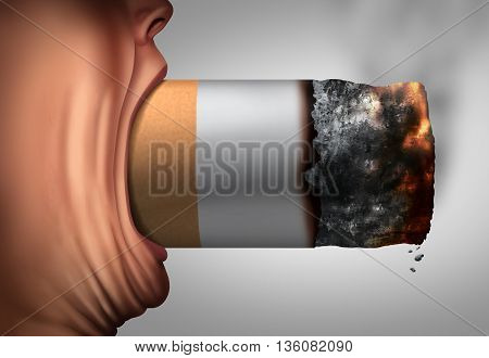 Smoking habit addiction to nicotine and tobacco concept as a smoker with a huge cigarette in a wide open mouth as a concept for abusing an unhealthy toxic lifestyle with 3D illustration elements.