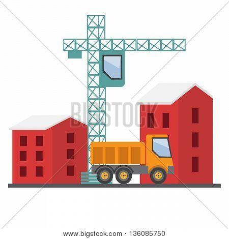 Under construction. Building a house vector illustration