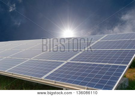 Solar energy panels, Photovoltaic with sun background for generate green energy