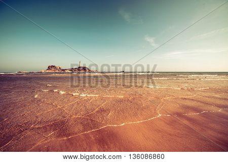 Ninh Chu Beach, Phan Rang, Vietnam, Beach scene and Lignthouse