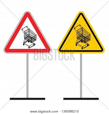 Warning Sign Of Attention Shopping Cart. Dangers Yellow Sign Empty Shopping Trolley. Supermarket Sho