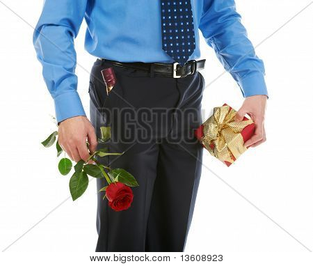 man with a gift box and a rose