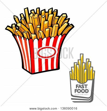 French fries in paper pack, vector illustration sketch drawn by hand, isolated on white background, appetizing sketch fries potatoes logo for fast-food cafe, and French fries for the brand logo