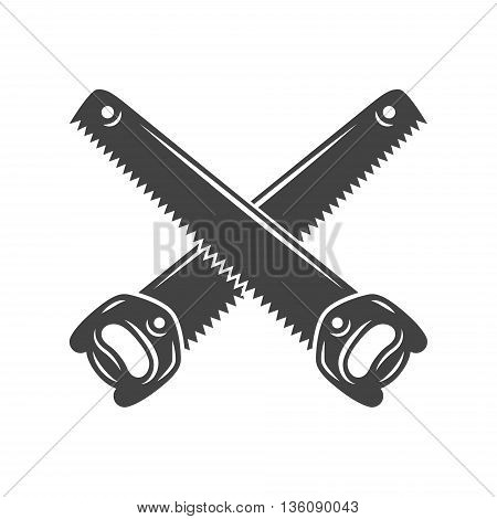 Two crossed handsaws. Black on white flat vector illustration logo element isolated on white background
