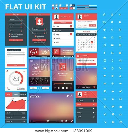 Set Of Flat Design Ui Elements For Website And Mobile Applications. Vector Illustration. Icons, Butt