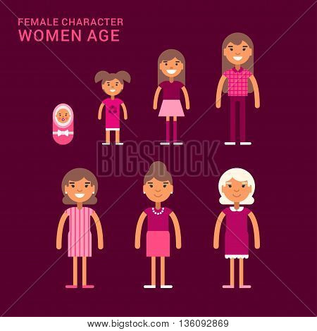 Women age. Life cycle. Different generations of women. From a cradle to a grave. Flat vector illustration