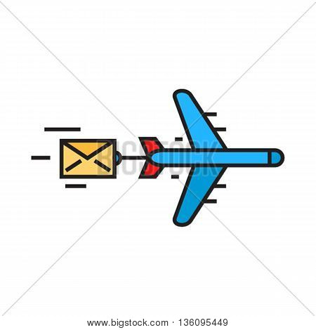 Flying airplane carring letter. Airmail, delivery, correspondence, parcel. Airmail concept. Can be used for topics like airmail, correspondence, delivery