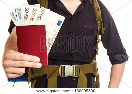 Tourist Backpacker Holding Money And Passport.