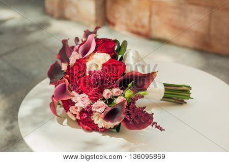 wedding bouquet on the table