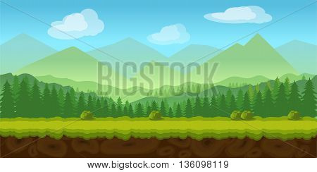 forest game background 2d game application. Vector design. Tileable horizontally. Size 1024x512. Ready for parallax effect