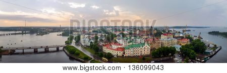Panorama of the city of Vyborg from the top. Capital city of Russia, founded in the Middle ages the Swedes. In 1293 during the Crusades in the land of Karelians, swedes built a castle Vyborg.