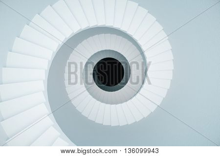 White stairwell with black circle in the middle on light background. 3D Rendering