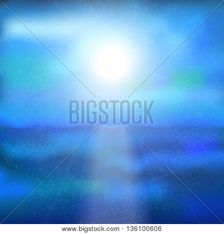 Vector background with sea sky and sun. It can be used as a poster flyer banner advertising card. Blue tone. Eps10