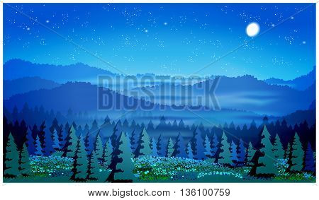 Stylized vector illustration of a picturesque forest at night. Illustration seamless horizontally if necessary