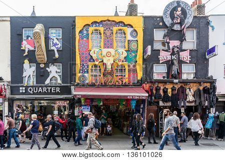 London United Kingdom - April 30 2016: Camden market - a very popular among tourists and locals place in London with stalls shops pubs and restaurants.