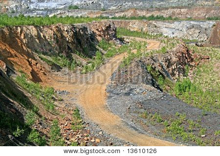 Dirt road in the opencast mine