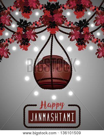 Happy Janmashtami. Illustration of hanging dahi handi. Greeting background. Vector eps10
