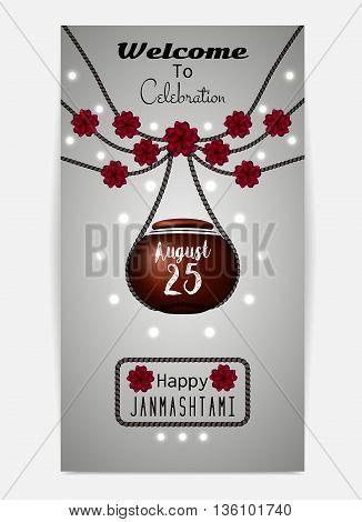Happy Janmashtami. Illustration of hanging dahi handi. Template for flyer or invitation. Vector illustration eps10