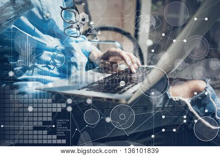 Woman Typing Keyboard Laptop Hand.Project Manager Researching Process.Business Team Working Startup modern Office.Global Strategy Virtual Icon.Innovation Graphs Interfaces.Analyze market stock.Blurred