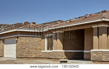 New Stucco And Brick Home Construction Housing Industry
