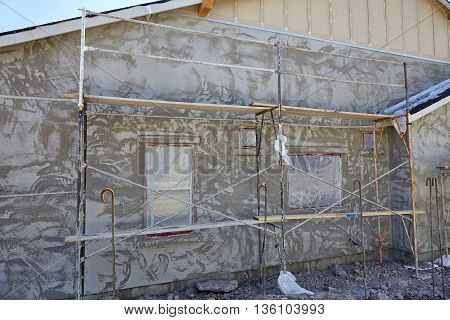 New Home Construction Stucco Plaster Wall And Scaffold System Jobsite