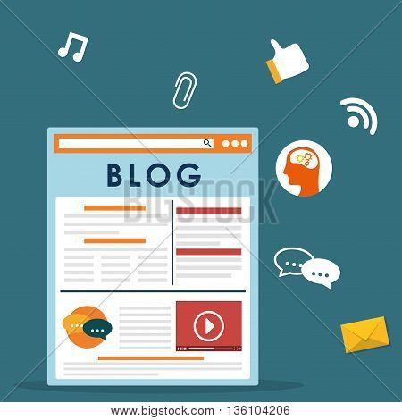 Blog, blogging and blogglers theme design, vector illustration graphic