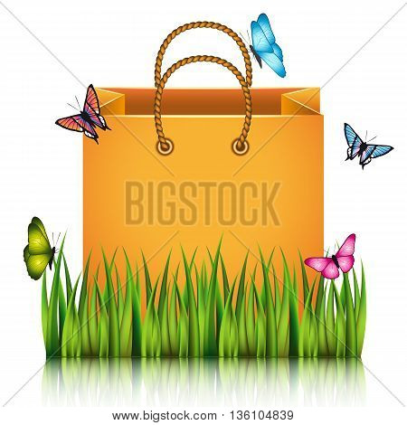 Orange paper shopping bag on the meadow grass with butterflies. Vector illustration.