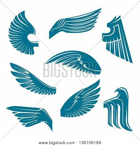 Tucked and spread wings vintage heraldic symbols of blue feathered wings of eagle, swan, falcon or raven with tribal elements. May be used as coat of arms, tattoo or jewellery design