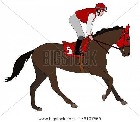 jockey riding race horse illustration 5 - vector